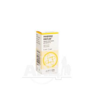 Уніфлокс краплі очні/вушні 0,3 % флакон 5 мл