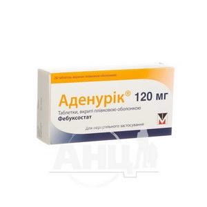 Аденурик 120 мг таблетки покрытые пленочной оболочкой 120 мг №28