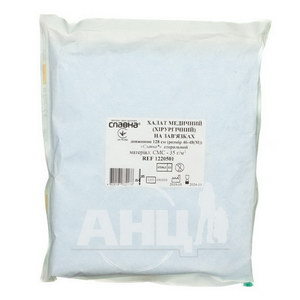 Халат медицинский хирургический на завязках Славна стерильный m 46-48 128 см
