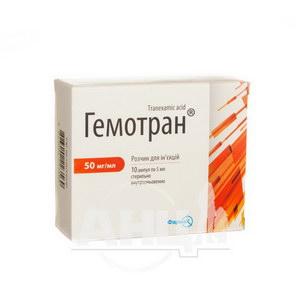 Гемотран розчин для ін'єкцій 50 мг/мл ампула 5 мл №10