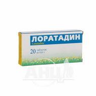 Лоратадин таблетки 0,01 г блістер №20