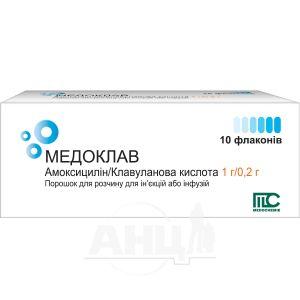 Медоклав порошок для приготовления раствора для инъекций и инфузий 1 г/0.2 г флакон №10
