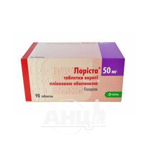 Лориста таблетки покрытые пленочной оболочкой 50 мг блистер №90