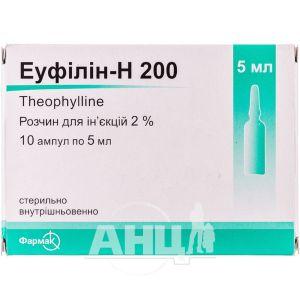Еуфілін-Н 200 розчин для ін'єкцій 2 % ампула 5 мл №10