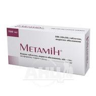 Метамін таблетки вкриті оболонкою 500 мг №100