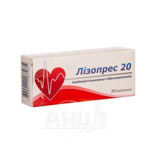 Лізопрес 20 таблетки 20 мг + 12,5 мг блістер №30