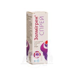Золмигрен спрей спрей назальный дозированный 5 мг/доза флакон 2 мл 20 доз