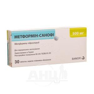 Метформін таблетки вкриті плівковою оболонкою 500 мг блістер №30