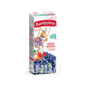 Нектар фруктовый для детей грудного возраста Bambolina яблочно-черничный с мякотью 200 мл