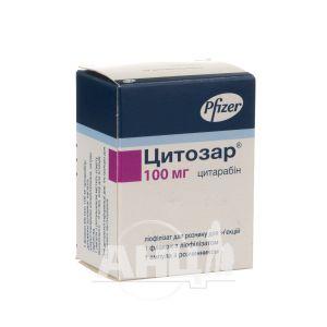 Цитозар ліофілізований порошок для розчину для ін'єкцій 100 мг флакон з розчинником в ампулі 5 мл №1
