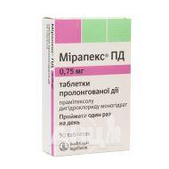 Мірапекс ПД таблетки пролонгованої дії 0,75 мг блістер №30