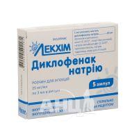 Диклофенак натрію розчин для ін'єкцій 2,5% ампула 3 мл №5