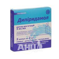 Дипиридамол раствор для инъекций 5 мг/мл ампула 2 мл №5