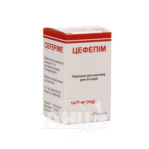 Цефепім порошок для розчину для ін'єкцій 1000 мг флакон №1