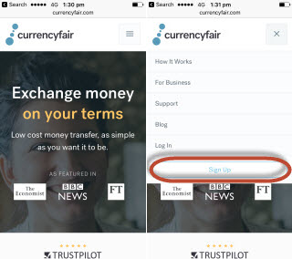 Creating CurrencyFair Account from mobile