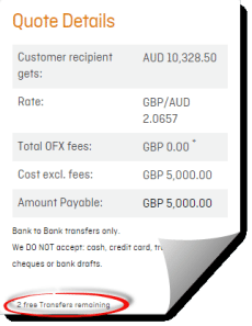 OFX web dashboard showing free transfer