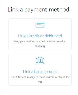 Step 2 - Click Link a Card or Bank Account