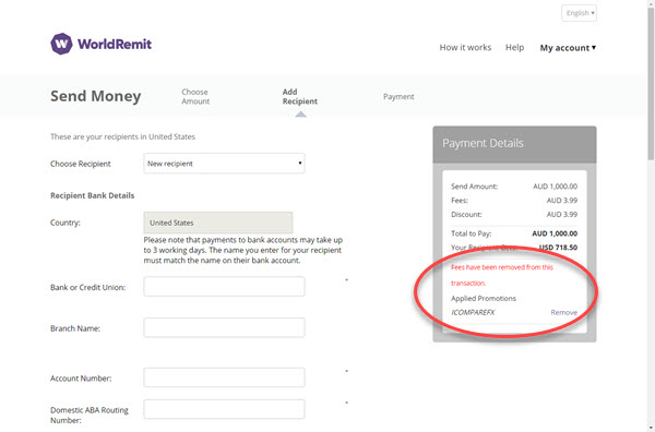 WorldRemit mobile dashboard coupon entry field