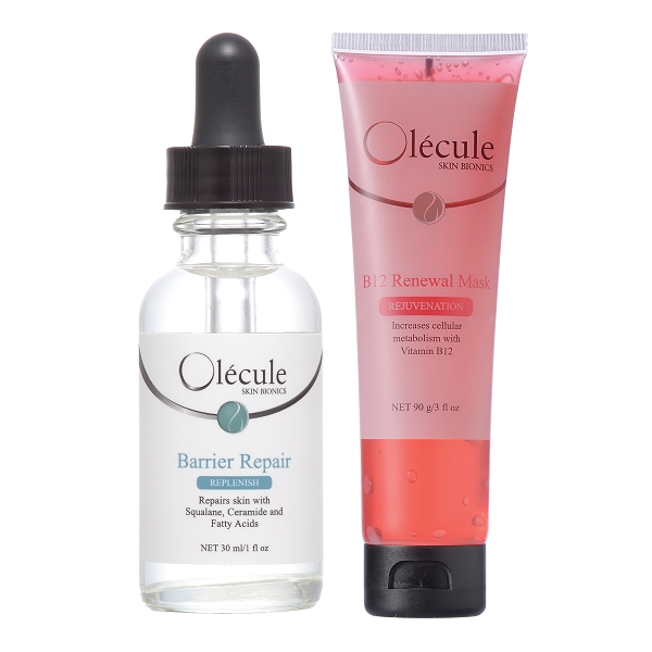 Olecule 角鯊修護水感輕油+粉紅奇肌能量面膜