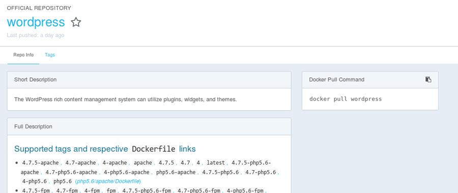 docker repository page