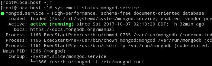 MongoDB Server Status CentOS 7