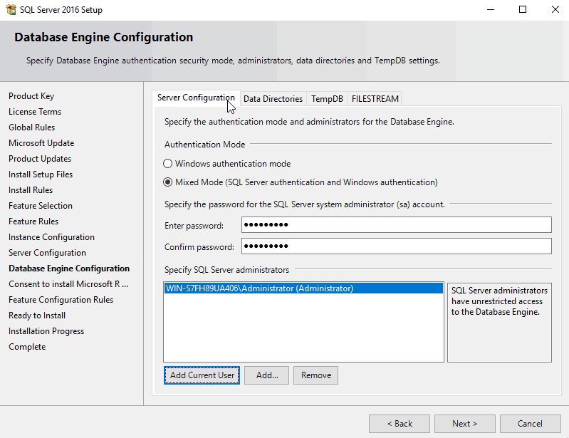 MS SQL Server 2016 Authentication Mode