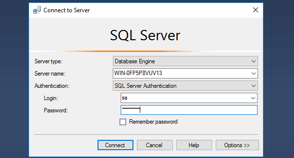 Connect to the MS SQL Database Server 2016