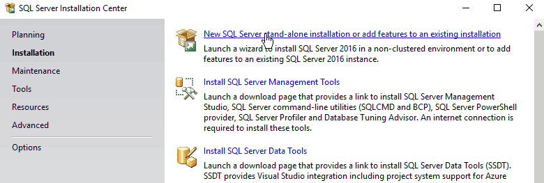 New SQL Server stand-alone installation or add features to an existing installation