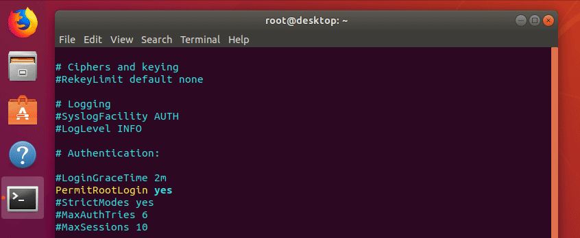 Enable SSH root login in Ubuntu