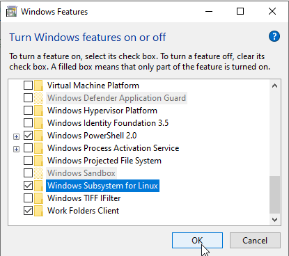 Enable Windows Subsystem for Linux
