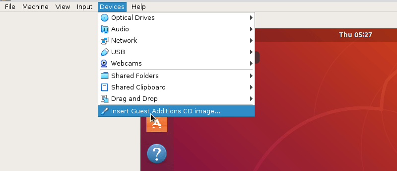 Insert the guest additions CD image to Ubuntu virtual machine.