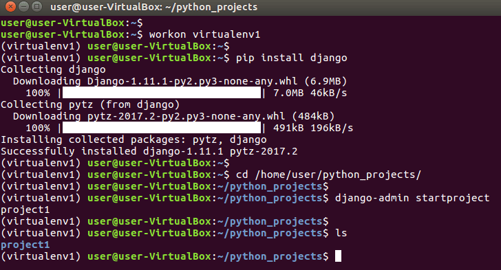 install Django framework python virtual environment