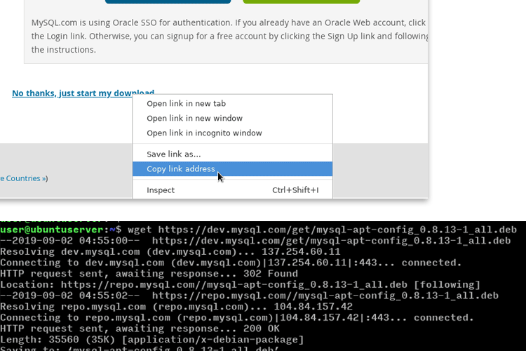 Ubuntu download mysql server