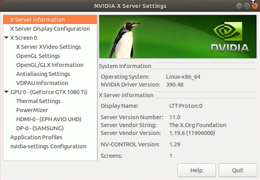 Ubuntu 18 NVIDIA X Server Settings program