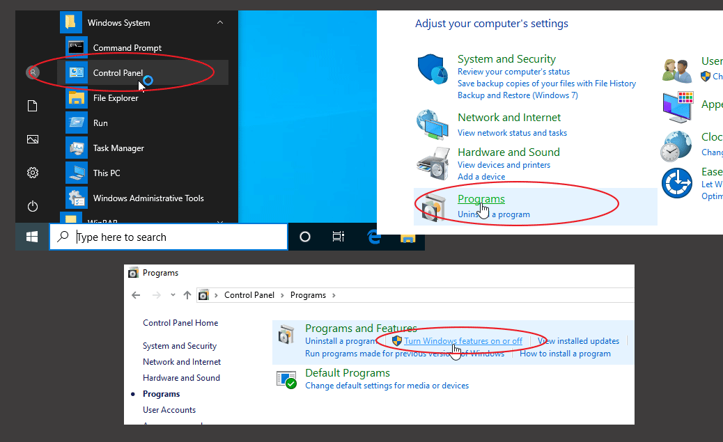 Open Control panel, go to Programs category and Select Turn Windows features on or off