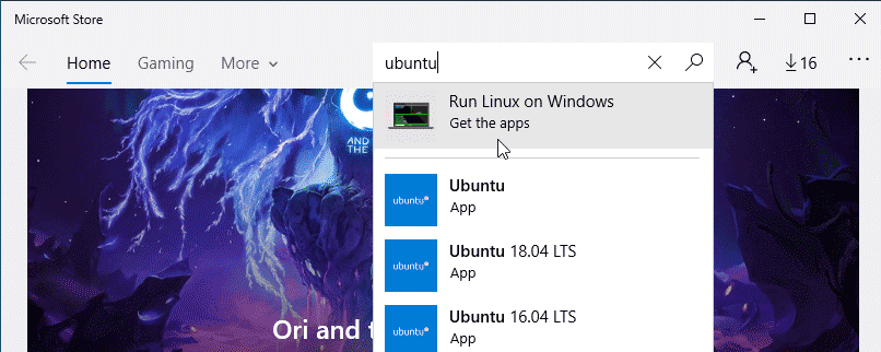 Open the Microsoft store and search Ubuntu app