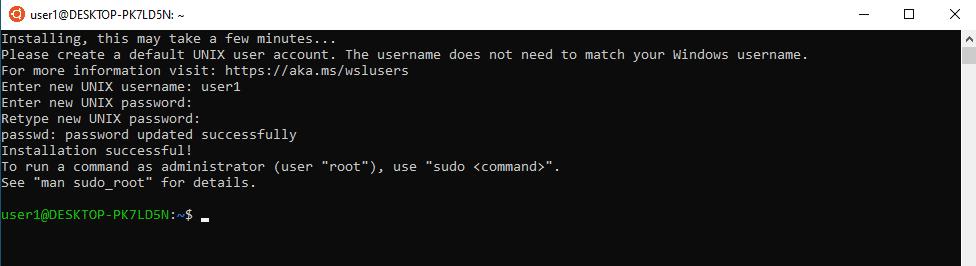 run ubuntu on windows 10