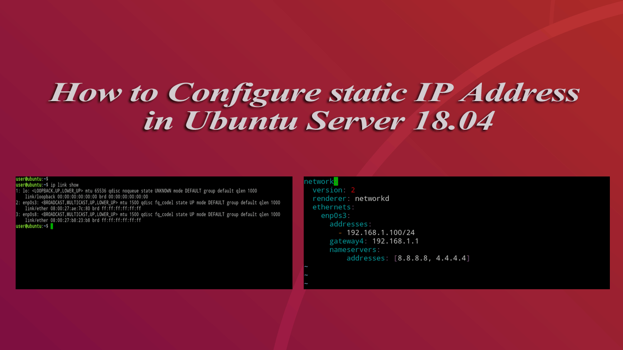 How to Configure static IP address in Ubuntu Server 18.04 LTS