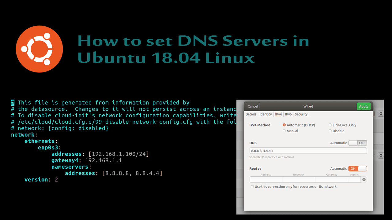 How to set DNS Servers in Ubuntu 18.04 Linux