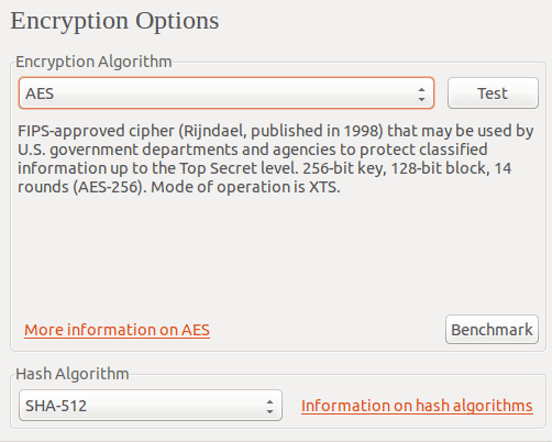 select the encryption and hash algorithm