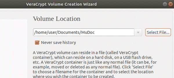 specify a name and location for the new VeraCrypt volume