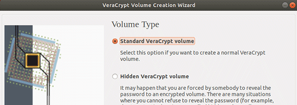 Select the option Standard VeraCrypt volume. Click Next to continue.