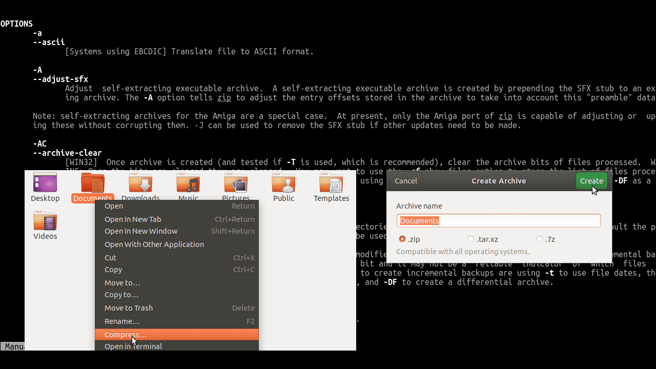 How to zip folder and unzip zip file in Ubuntu