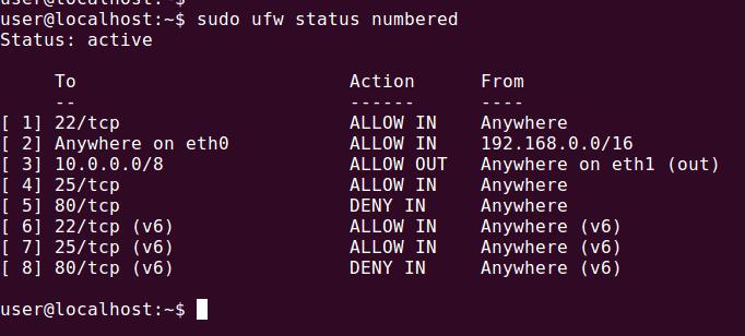 ufw status firewall rule number