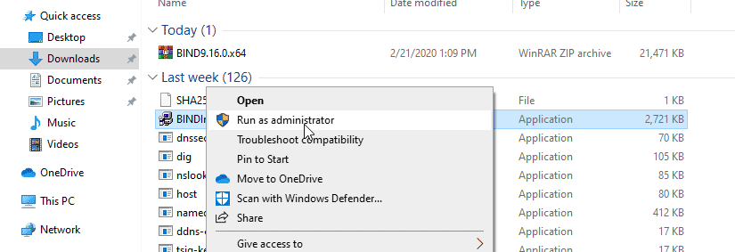 Right click on the BINDInsall and choose run as administrator.