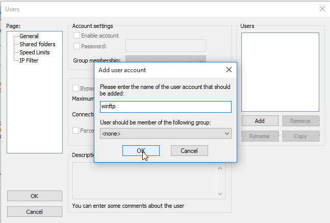 set up an FTP user in the FileZilla server