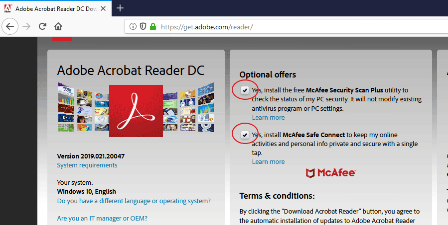 install adobe reader without mcafee