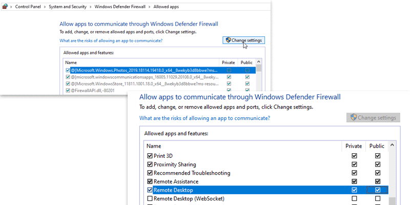 Enable remote desktop connection from Windows Firewall