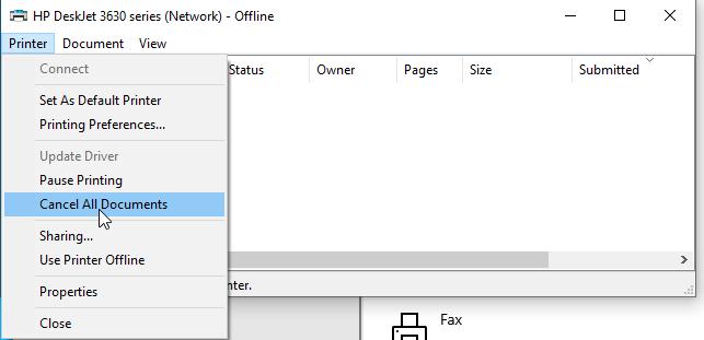 Clear print queue in Windows 10