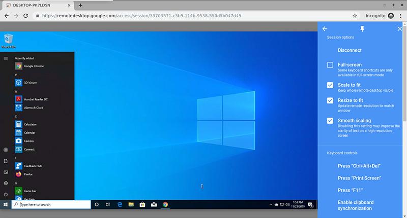 Chrome Remote Desktop Windows 10